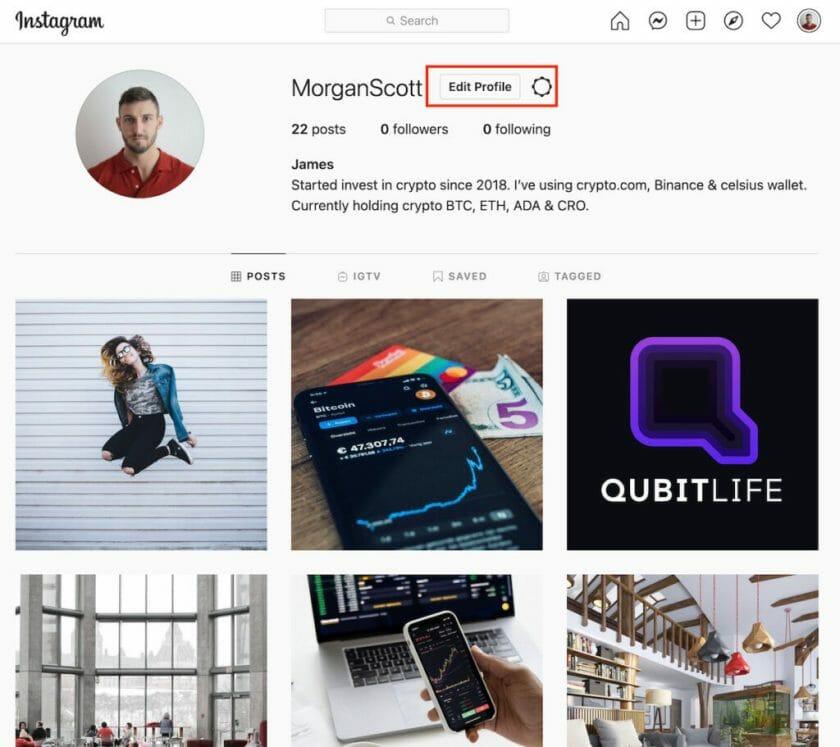 instagram profit page